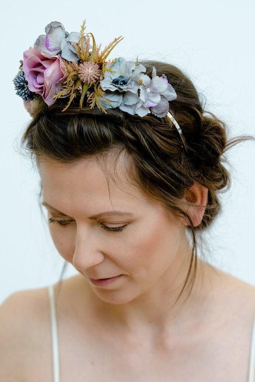 Blumen Haarreif Silber Vintage Brautkleider Accessoires