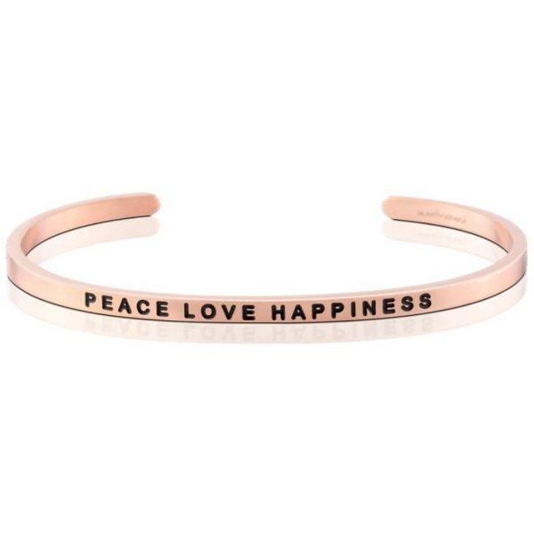 Mantra Bracelet 'Peace Love Happiness' - Schmuck - Roségold